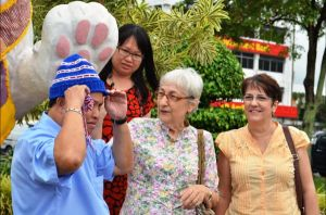 Mayor Dato James Chan couldn't wait to wear his knitted hat.